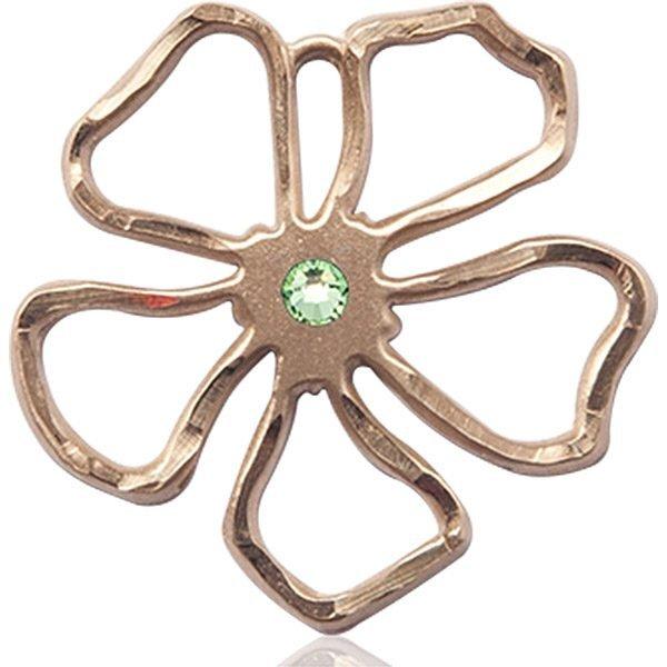 Five Pedal Flower Medal - August Birthstone - 14 KT Gold #88886