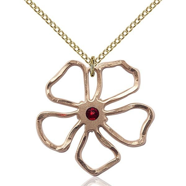 Five Pedal Flower Pendant - January Birthstone - Gold Filled #88864