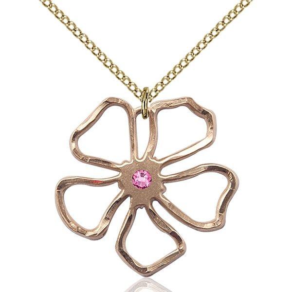 Five Pedal Flower Pendant - October Birthstone - Gold Filled #88865