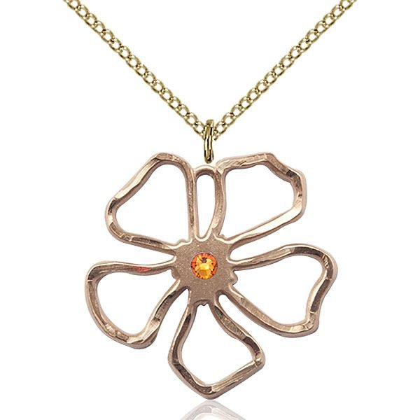 Five Pedal Flower Pendant - November Birthstone - Gold Filled #88866