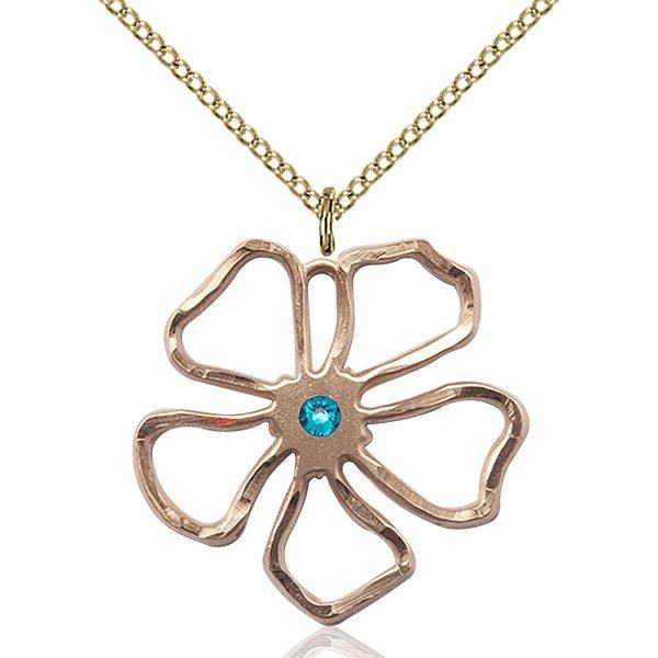 Five Pedal Flower Pendant - December Birthstone - Gold Filled #88867