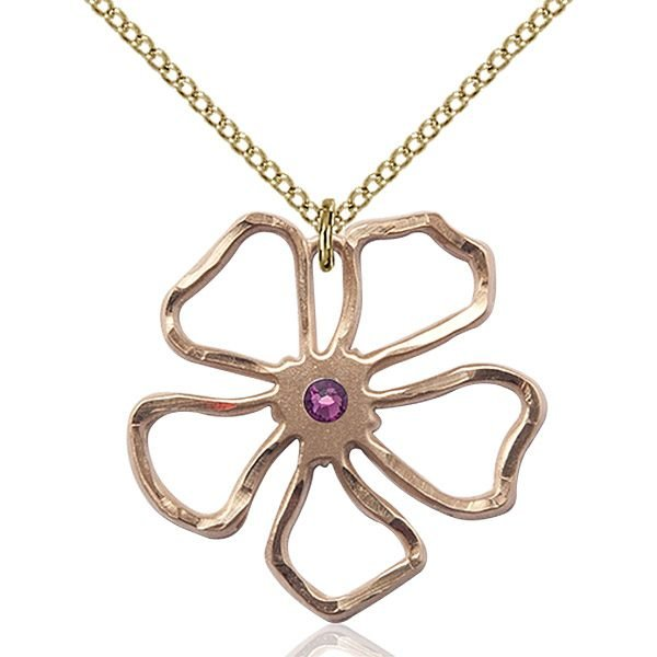 Five Pedal Flower Pendant - February Birthstone - Gold Filled #88868