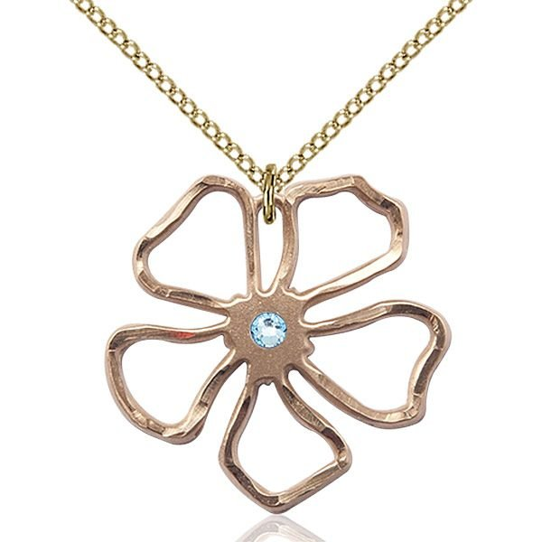 Five Pedal Flower Pendant - March Birthstone - Gold Filled #88869