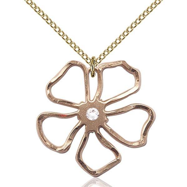 Five Pedal Flower Pendant - April Birthstone - Gold Filled #88870