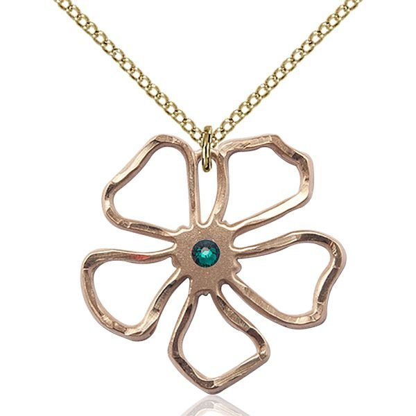 Five Pedal Flower Pendant - May Birthstone - Gold Filled #88871