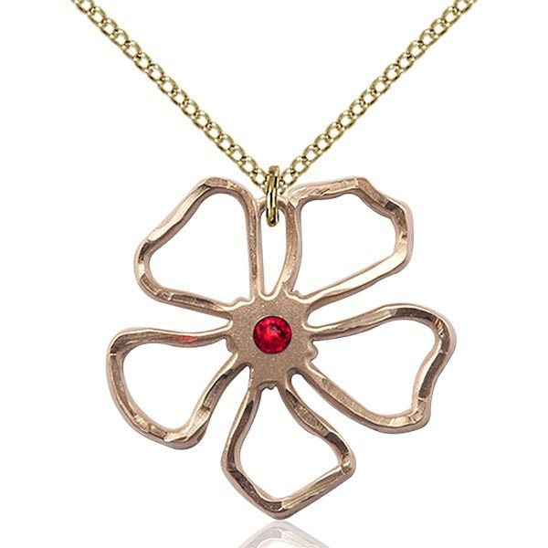 Five Pedal Flower Pendant - July Birthstone - Gold Filled #88873