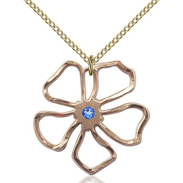Five Pedal Flower Pendant - September Birthstone - Gold Filled #88875