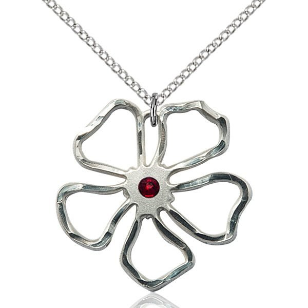 Five Pedal Flower Pendant - January Birthstone - Sterling Silver #88888