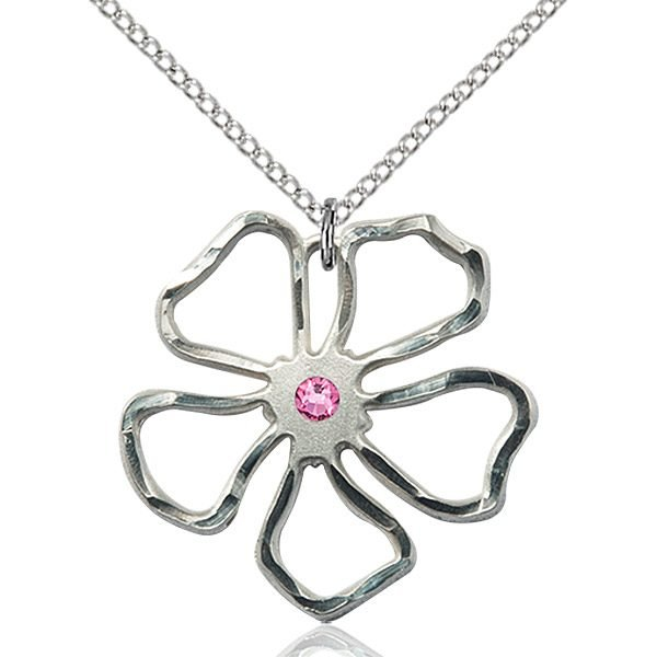 Five Pedal Flower Pendant - October Birthstone - Sterling Silver #88889