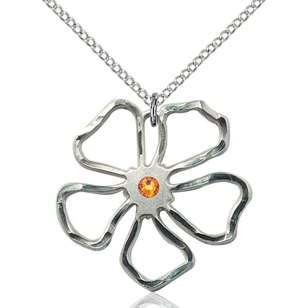 Five Pedal Flower Pendant - November Birthstone - Sterling Silver #88890