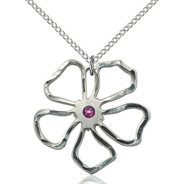 Five Pedal Flower Pendant - February Birthstone - Sterling Silver #88892