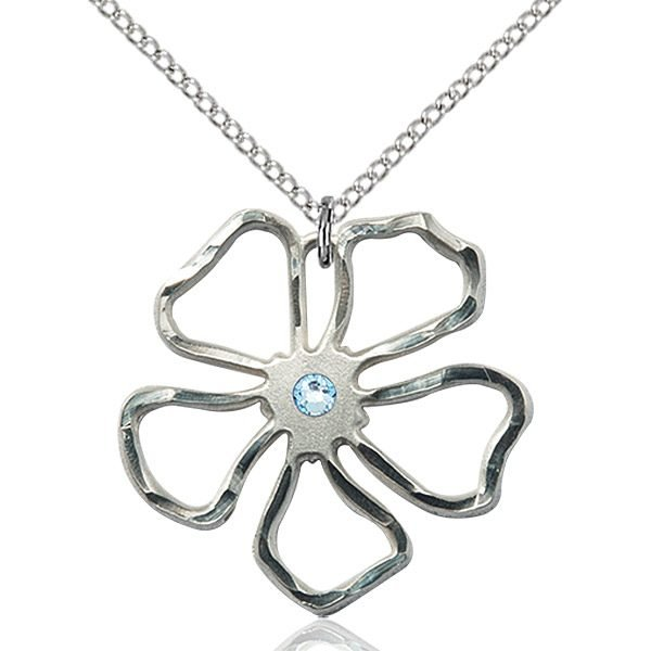 Five Pedal Flower Pendant - March Birthstone - Sterling Silver #88893