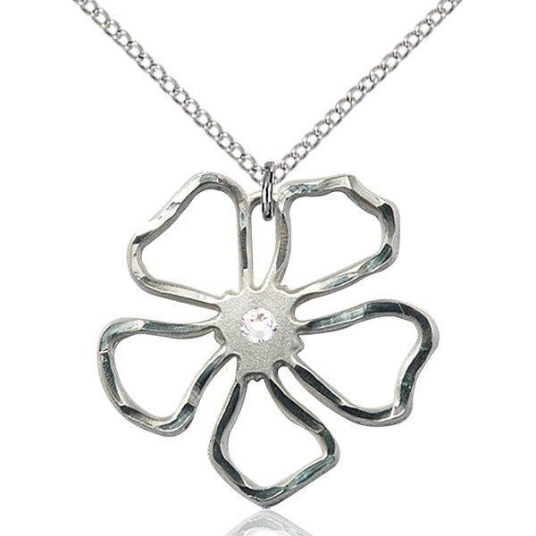 Five Pedal Flower Pendant - April Birthstone - Sterling Silver #88894