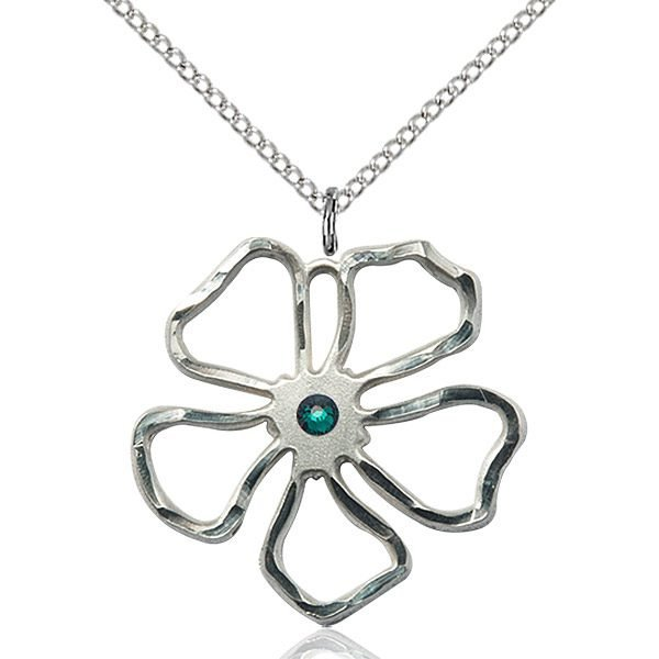 Five Pedal Flower Pendant - May Birthstone - Sterling Silver #88895