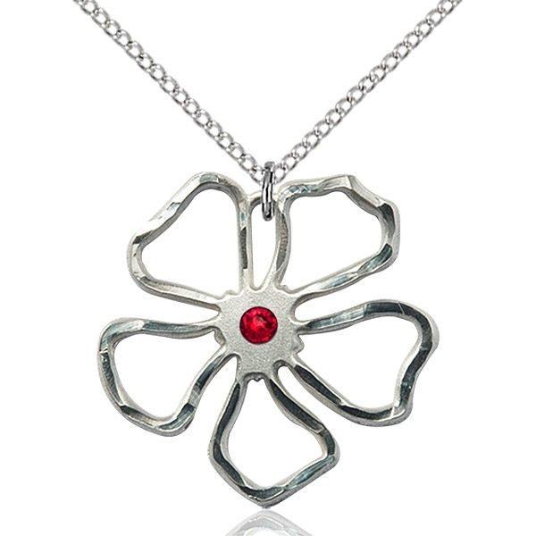 Five Pedal Flower Pendant - July Birthstone - Sterling Silver #88897