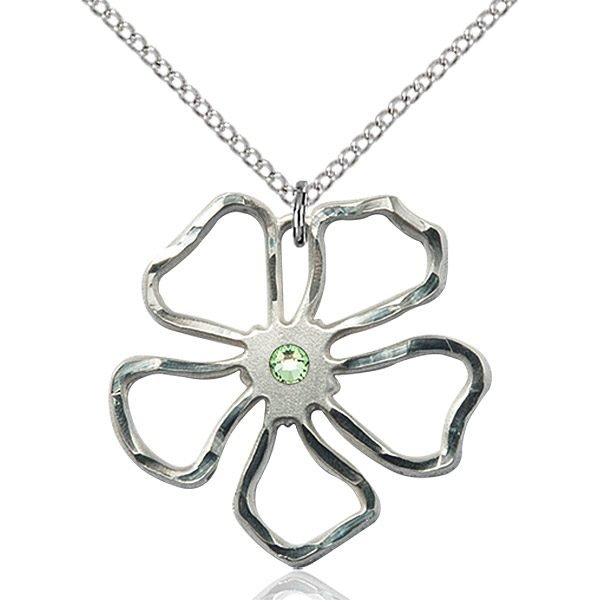 Five Pedal Flower Pendant - August Birthstone - Sterling Silver #88898