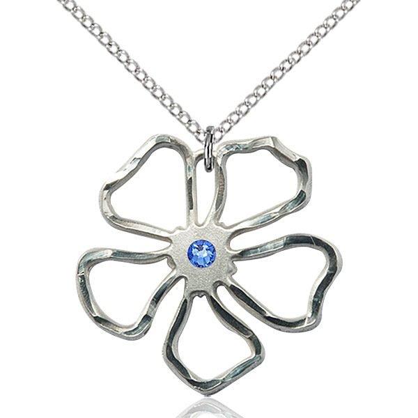 Five Pedal Flower Pendant - September Birthstone - Sterling Silver #88899