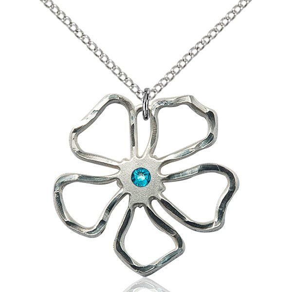 Five Pedal Flower Pendant - December Birthstone - Sterling Silver #88891