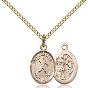 Gold Filled St. Sebastian/Football Pendant