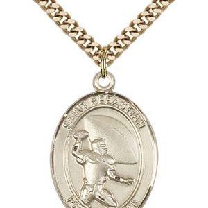 Gold Filled St. Sebastian/Football Pendant