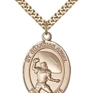 Gold Filled Guardian Angel/Football Pendant