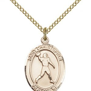 Gold Filled St. Christopher/Football Pendant