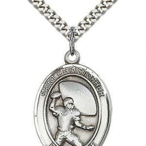 Sterling Silver St. Christopher/Football Pendant