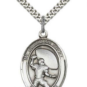 Sterling Silver Guardian Angel/Football Pendant