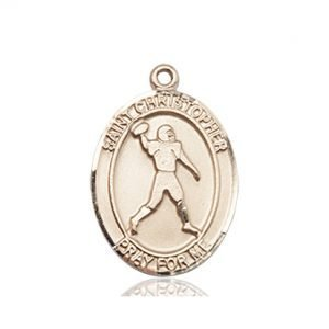 14 KT Gold St. Christopher/Football Medal