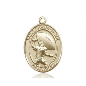 14kt Gold St. Christopher/Football Medal