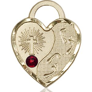 Footprints Heart Medal - January Birthstone - 14 KT Gold #88675