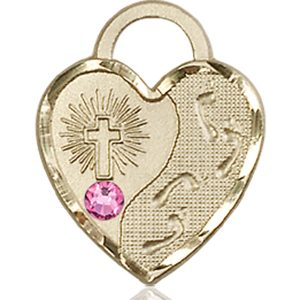 Footprints Heart Medal - October Birthstone - 14 KT Gold #88676