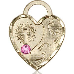 Footprints Heart Medal - October Birthstone - 14 KT Gold #88676