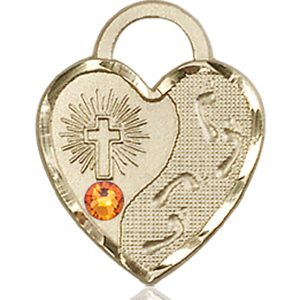 Footprints Heart Medal - November Birthstone - 14 KT Gold #88677
