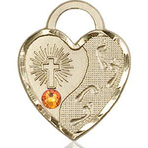 Footprints Heart Medal - November Birthstone - 14 KT Gold #88677