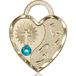 Footprints Heart Medal - December Birthstone - 14 KT Gold #88678