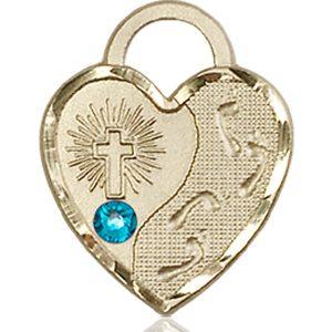 Footprints Heart Medal - December Birthstone - 14 KT Gold #88678
