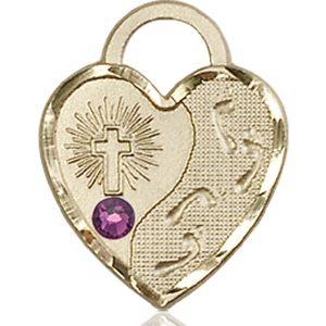 Footprints Heart Medal - February Birthstone - 14 KT Gold #88679