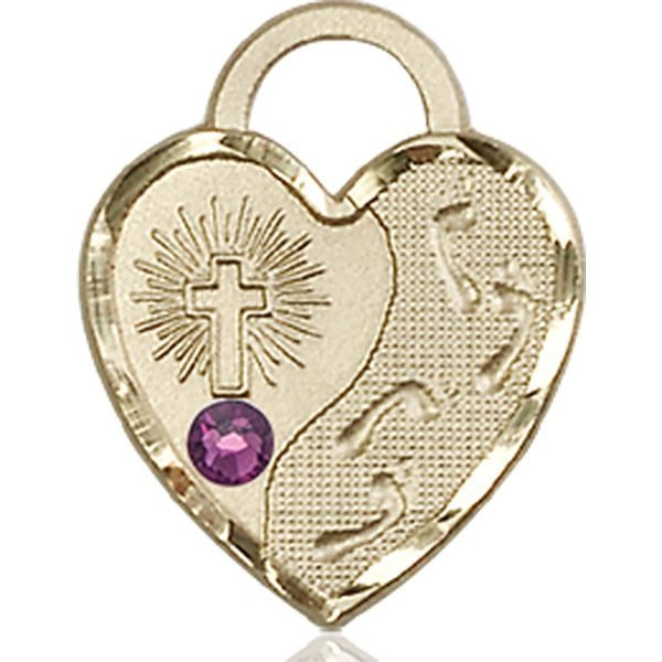 Footprints Heart Medal - February Birthstone - 14 KT Gold #88679