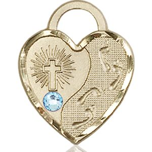 Footprints Heart Medal - March Birthstone - 14 KT Gold #88680