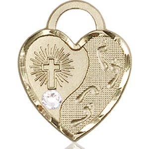 Footprints Heart Medal - April Birthstone - 14 KT Gold #88681
