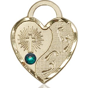 Footprints Heart Medal - May Birthstone - 14 KT Gold #88682