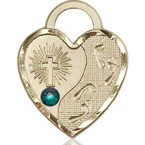 Footprints Heart Medal - May Birthstone - 14 KT Gold #88682