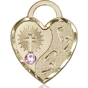 Footprints Heart Medal - June Birthstone - 14 KT Gold #88683