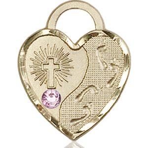 Footprints Heart Medal - June Birthstone - 14 KT Gold #88683