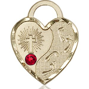 Footprints Heart Medal - July Birthstone - 14 KT Gold #88684