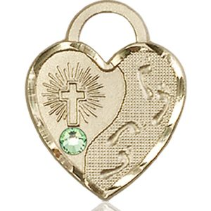 Footprints Heart Medal - August Birthstone - 14 KT Gold #88685