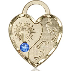 Footprints Heart Medal - September Birthstone - 14 KT Gold #88686