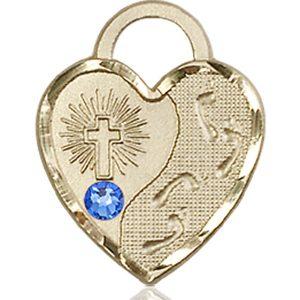 Footprints Heart Medal - September Birthstone - 14 KT Gold #88686