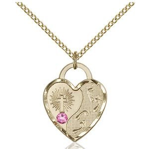 Footprints Heart Pendant - October Birthstone - Gold Filled #88664